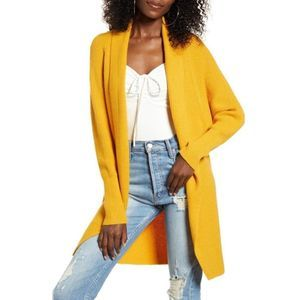 Leith Dolman Sleeve Mustard Yellow Open Cardigan